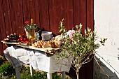 A barbecue buffet in a garden