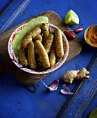 Hausgemachte thailändische Bratwurst mit Ingwer und Koriander
