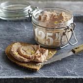 Homemade veal liver sausage and liver sausage bread