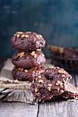 Homemade chocolate bagels on a rustic surface