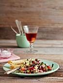 Colourful beef salad