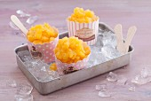Peach granita with peach liqueur