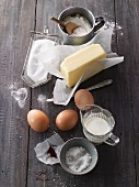 An arrangement of basic baking ingredients