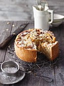 Grandma's apple cake with flaked almonds