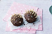 Hedgehog muffins with almond prickles