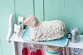 An Easter lamb cake with coconut and white chocolate