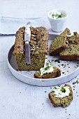 Gluten-free pumpkin seed bread with caraway and coriander seeds