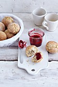 Gluten-free bread rolls with quark and rice pudding