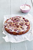 Gluten-free raspberry cake made from yeast dough