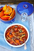 Beef goulash with pumpkin and wax beans