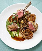Marinated lamb with garlic and spinach purée and wild rosemary potato pasta