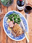 Rack of lamb with a breadcrumb crust and green beans