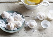 Lemon truffles dusted with icing sugar