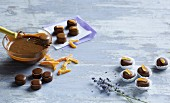 Flavoured pralines being made