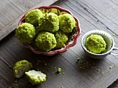 Amarena cherry truffles with pistachios
