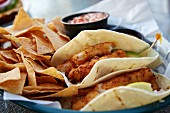 Fish tacos with tortilla chips