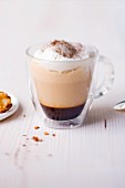 Chanterelle mushroom and mocha cappuccino in a glass