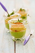 Scallop and wasabi crumble with pea and ginger purée in glasses