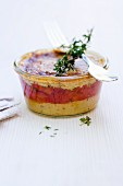 Polenta and pimiento tartlet with a Gorgonzola crust in a jar