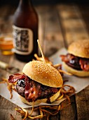 Ostrich burgers with bacon
