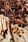 An arrangement of spices with star anise and cinnamon