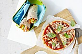 Homemade pizza and vegetable wraps