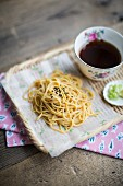 Cold soba noodles with black sesame seeds and a soya dip (Japan)