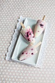 Homemade cherry and yoghurt ice cream sticks