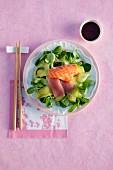 Sashimi salad with ginger dressing