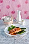 Salmom teriyaki with green asparagus, sesame seeds and rice