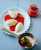Rice quark dumplings with strawberry sauce (gluten-free)