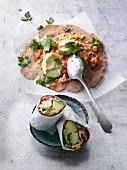 Wraps made from quick homemade tortillas with avocado and Serrano ham