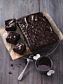 Fudge brownies with quinoa and chocolate glaze