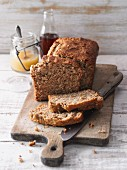 Courgette and apple bread with maple syrup and almonds