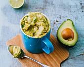 A mug cake made with avocado, lime and brown sugar