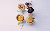Four vegan mug cakes