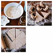 Gluten-free yoghurt crescent rolls being made