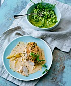 Roast chicken breast with a lemon herb marsala sauce