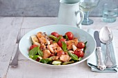 Quick fish ragout with tomatoes and mint