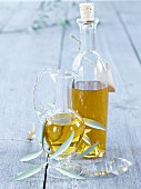 Olive oil in bottle and carafe