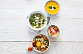 Quick soups made with ingredients on stock