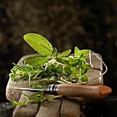 Mediterranean herbs on a wooden board with a knife