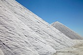 Sea salt extraction in Camargue, France, salt mountains