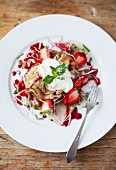 Lavender pancakes with rose jam, strawberries, Greek yoghurt and mint