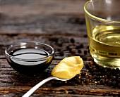 Balsamic vinegar, mustard, peppercorns, and white wine vinegar
