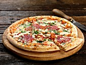 Pizza romagnola (cheese and salami pizza, Italy)