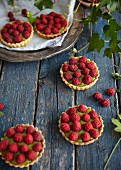 Raspberry tartlets with matcha cream