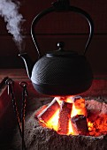 A kettle hanging over a fire