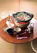 A table laid with Nabemono (Japanese stew)