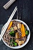 Yaki Soba (stir-fried soba noodles, tofu, broccoli and carrots, Japan)